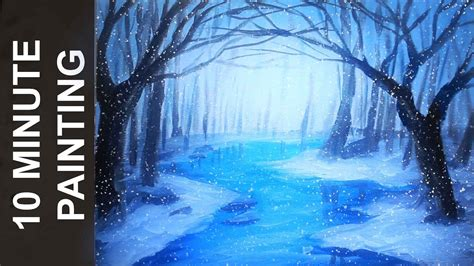 Painting a Winter Forest Landscape with Acrylics in 10