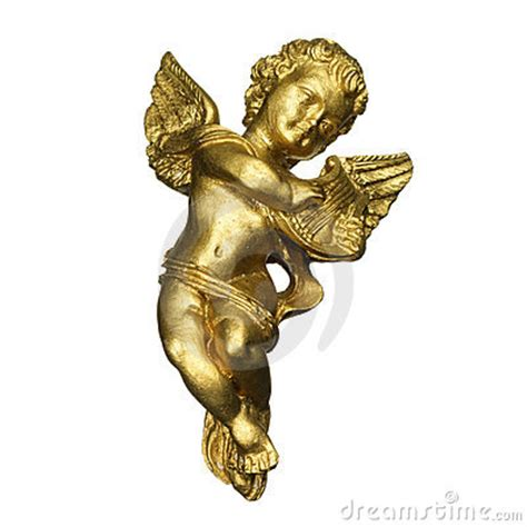 Golden Angel Playing The Harp Stock Image - Image: 5205781