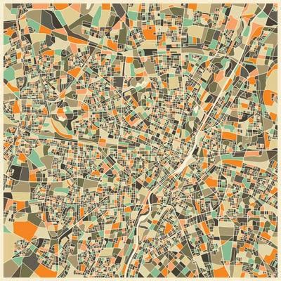 Abstract City Map of Munich Canvas Wall Art by Jazzberry