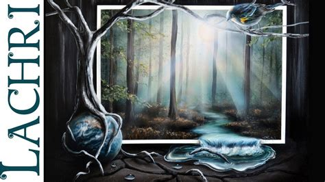 Time lapse speed painting Surreal misty Forest, river and